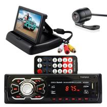 Kit radio mp3 bt + tela retratil 4,3 + camera ré borboleta - FIRST OPTION