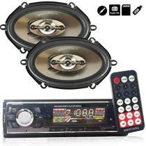 Kit Radio Mp3 Fm Usb Aux + Par Falante 5x7 Automotivo Carro - Tsshop