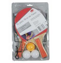 Kit raquete de ping pong com 2 unidades + 3 bolinhas + suporte + rede - Top Rio