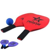 Kit Raquete Frescobol de Madeira com Bola - Redstar