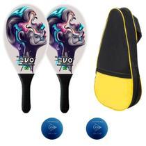 Kit Raquetes Frescobol Evo Fibra Face com Raqueteira 2 Bolas -