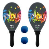 Kit Raquetes Frescobol Evo Fibra Play com 2 Bolas -