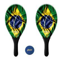 Kit Raquetes Frescobol Evo Fibra Vidro Brasil com Bola Penn -