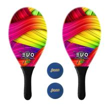 Kit Raquetes Frescobol Evo Fibra Vidro Color com 2 Bolas Penn -