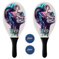Kit Raquetes Frescobol Evo Fibra Vidro Face com 2 Bolas Penn -