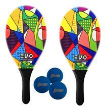 Kit Raquetes Frescobol Evo Fibra Vidro Picasso com 3 Bolas Penn -