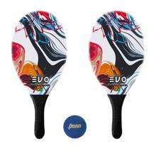 Kit Raquetes Frescobol Evo Fibra Vidro Vetor com Bola Penn -