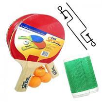 142d7515c Kit Raquetes para Ping Pong com Suporte + Rede + 3 Bolinhas Bel