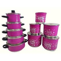 Kit Rebeca 10 Peças - Jogo de Panela Alumínio 5 Peças + Porta Mantimento Lata - Rosa Pink - Lu Quintães