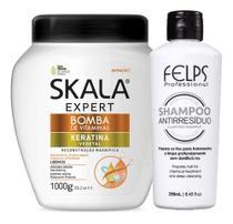Kit Reconstrução Capilar Bomba De Keratina Vegetal 1000 g E Shampoo Anti Resíduo 250 ml - Skala/Felps