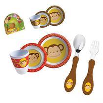 Kit Refeição com Talher Tigela e Copo Macaquinho Macaco Infantil - Zein