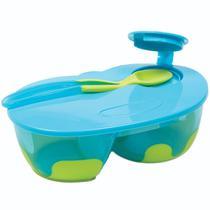 Kit Refeicao Infantil Com Divisoria Azul Buba Com Colher -