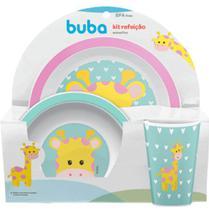 Kit Refeição Infantil Prato Tigela Copo Girafa Buba -