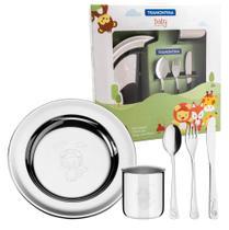 Kit Refeição Infantil Tramontina Em Aço Inox 5 Peças talheres copo e prato -