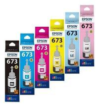 Kit Refil Tinta com 06 Cores 673 Original Epson P/ Impressoras L800 L805 L810 L1800 -