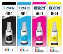 Kit Refil Tinta Original Epson 664 P/ Impressora Epson L110 L200 210 L350 L355 L375 L395 L495 -