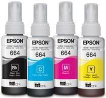 Kit Refil Tintas Epson 664 Preto, Cyano, Yellow, Magenta L200 L396 L110 L355 L555 L455 L365 L220 L395 -