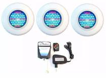Kit Refletor para Piscina 3 Led 45 Colorido RBB + Comando - Pooltec