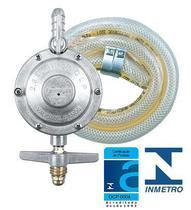 Kit Registro Regulador de Gás com Mangueira 1,20m e 2 Abraçadeiras para Fogão - 1kg/h - Formagás