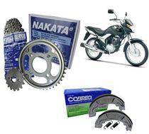 Kit Relação Tração Nakata Corrente Coroa Pinhão Honda Cg Titan Fan 150 Ks Es Esd Mix Flex Aço 1045 + 01 Lona Patim Cobreq Dianteira ou Traseira -