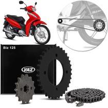 Kit Relação Transmissão Com Retentor Honda Biz 125 2005 A 2019 Vaz Xtreme Black Edition H03803X -
