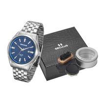 Kit relógio aço clássico com engraxate prata 28862g0skna1k2 - Seculus