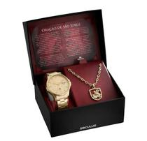 Kit Relógio Aço Dourado e Colar São Jorge 28933GPSKDA1K1 - Seculus