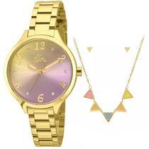Kit relógio allora feminino al2036cg/k4t -