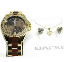Kit relógio backer semi joia 39690095 dourado backer -