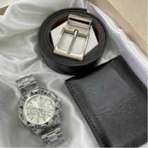 Kit relógio + carteira e cinto presentes vilasmart -