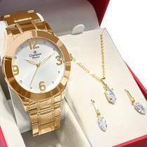 Kit Relógio Champion Feminino Dourado Analógico Prova DAgua + Colar e Brincos Garantia de um Ano -