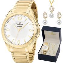 Kit Relógio Champion Feminino Dourado com Colar e Brincos CN26091W -