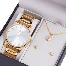 Kit Relógio Champion Feminino Elegance Com Colar E Brincos Cn27652w -