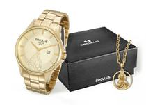 Kit Relógio com Colar Jesus Cristo Dourado Seculus 28919GPSKDA1K1 -
