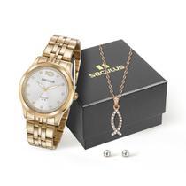 Kit relógio com colar peixe cristão e brincos dourado 28968lpskda1k1 - Seculus