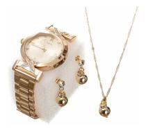 Kit Relógio Dourado Feminino + Colar + Brinco Presente namorados -