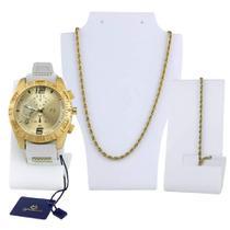 Kit Relógio Dourado Masculino Original Pulseira Silicone Ajustável Branca + Colar e Pulseira Dourada - Super ThunderBolt