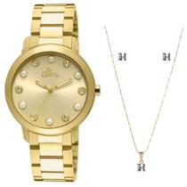 793a7138c8e6b Kit Relógio Feminino Allora Analógico AL2035LR K4D - Dourado