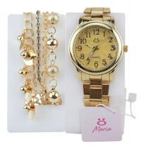 Kit Relógio Feminino Analógico Dourado + Pulseira - Orizom
