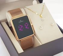 Kit Relógio Feminino Digital Champion Rose Luxo com Colar e Brincos -
