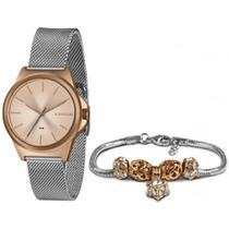 Kit relogio feminino prata/rose lince lrt4650l kx50 -