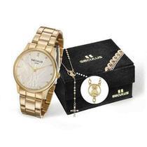 Kit Relógio Feminino Seculus 28918lpskds1 Dourado -