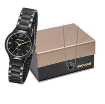 Kit Relógio Feminino Seculus com Pulseira Preta 77017LPSVPA2K1 -