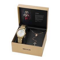 Kit Relógio Feminino Seculus com Terço Jesus Cristo Dourado 35006LPSKDA1K1 -