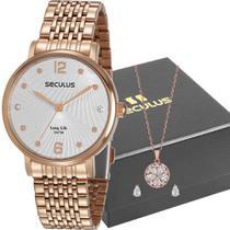 Kit Relógio Feminino Seculus Feminino Rosé Com Colar 28969LPSVRA2K1 -
