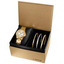 e75e86738c5 Kit Relógio Lince Feminino dourado Lrg4393l K199