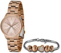 Kit Relógio Lince Rosé Feminino + Pulseira Berloque LRR4681L KN12R1RX -