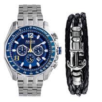 Kit Relógio Masculino Magnum Analógico MA32167O - Prata/Azul -