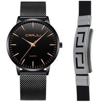 Kit Relógio Masculino Metal E Aço Inox Ultra Fino + Pulseira - CRRJU