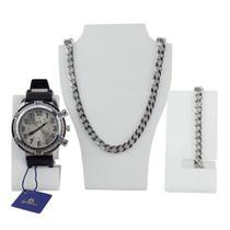Kit Relógio Masculino Orizom + Colar + Pulseira c/ Garantia - Griseus